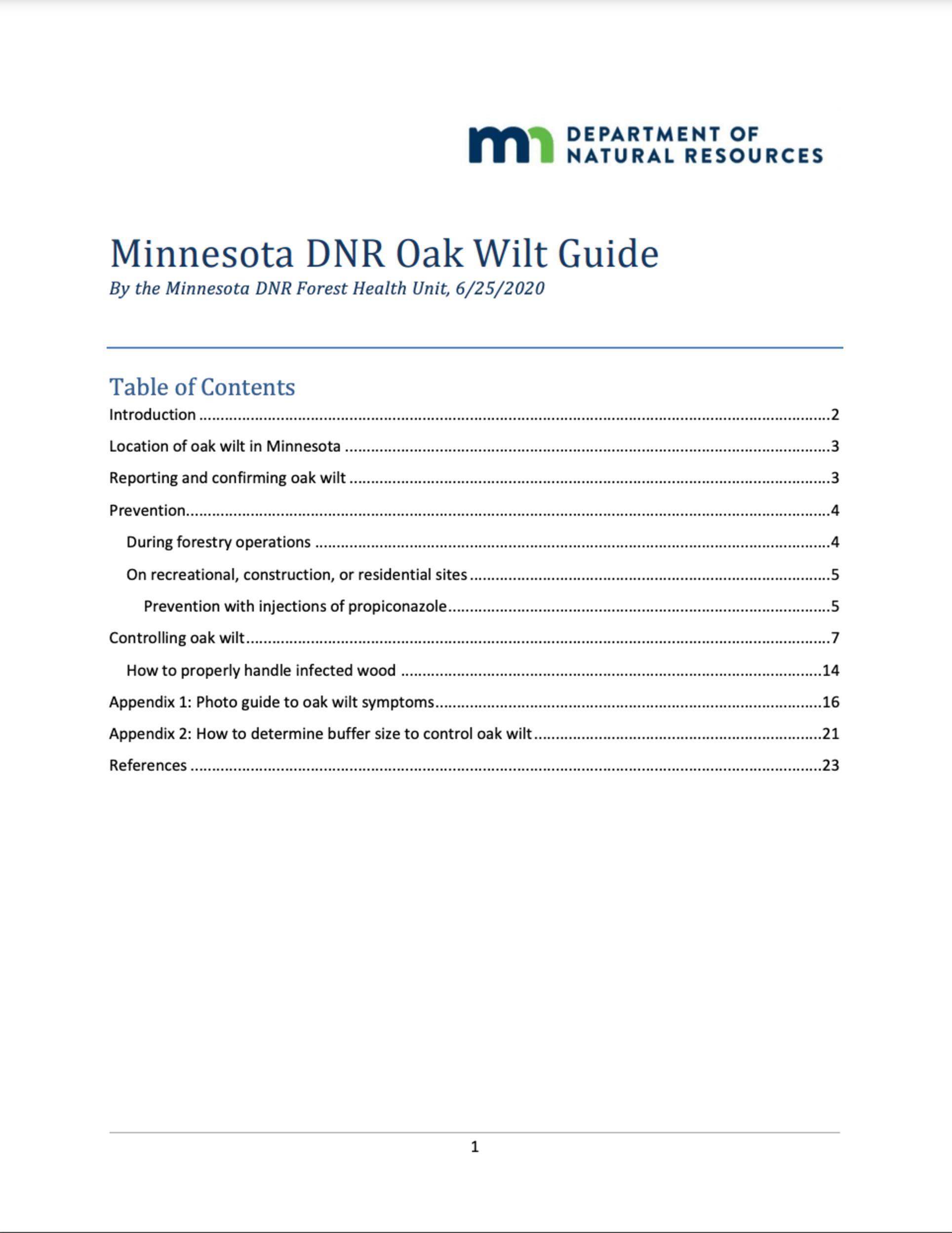 Minnesota Dnr Oak Wilt Guide