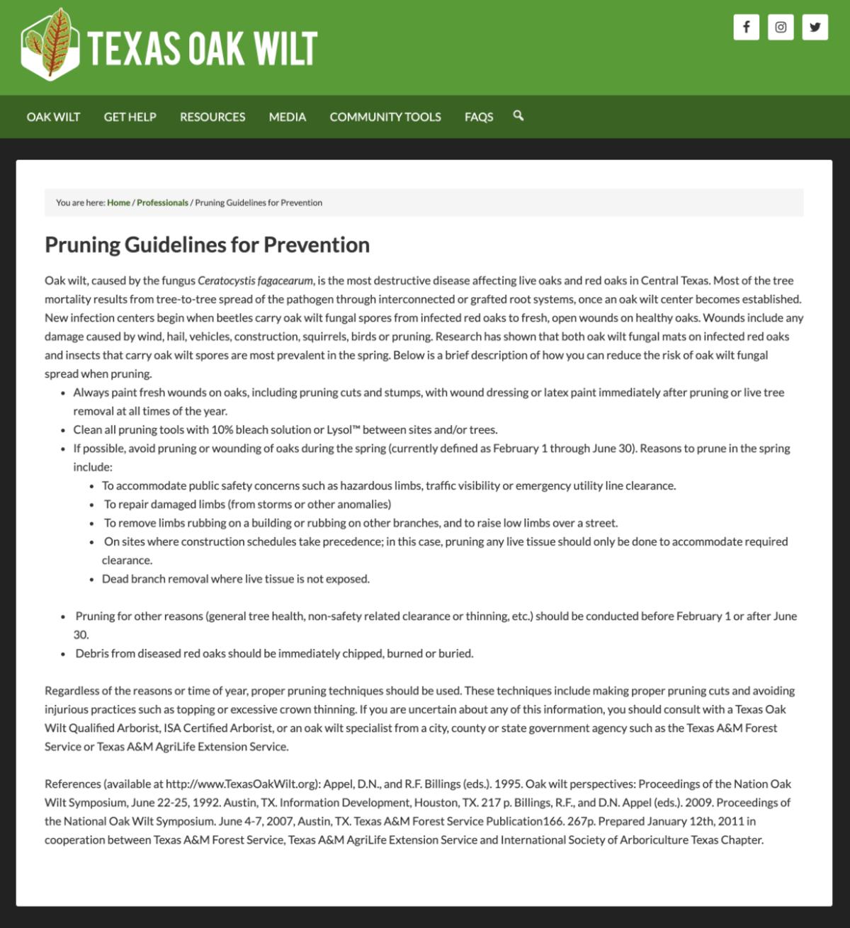 Texas Oak Wilt Pruning Guidelines
