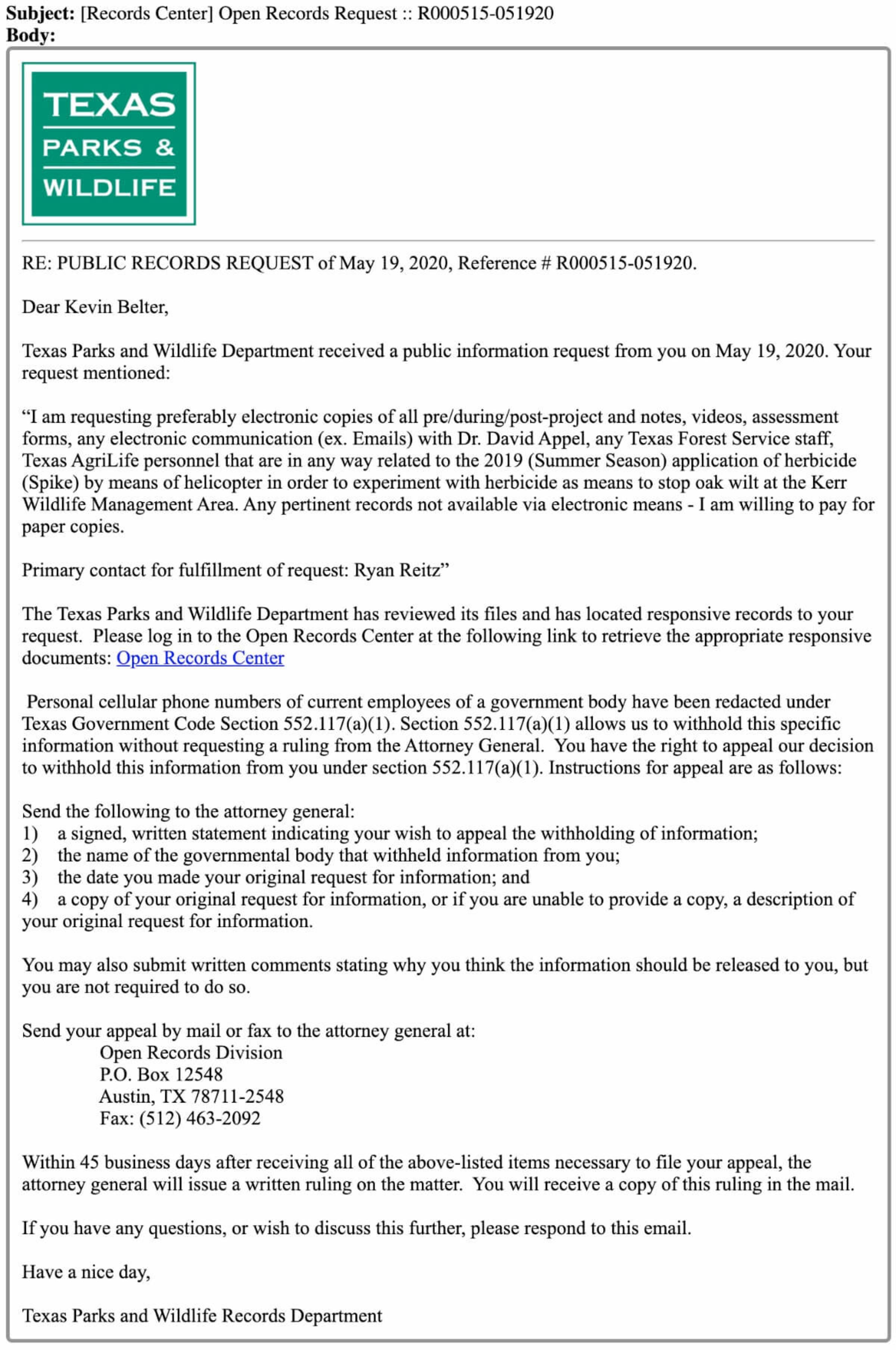 Public Information Act Oak Wilt 10