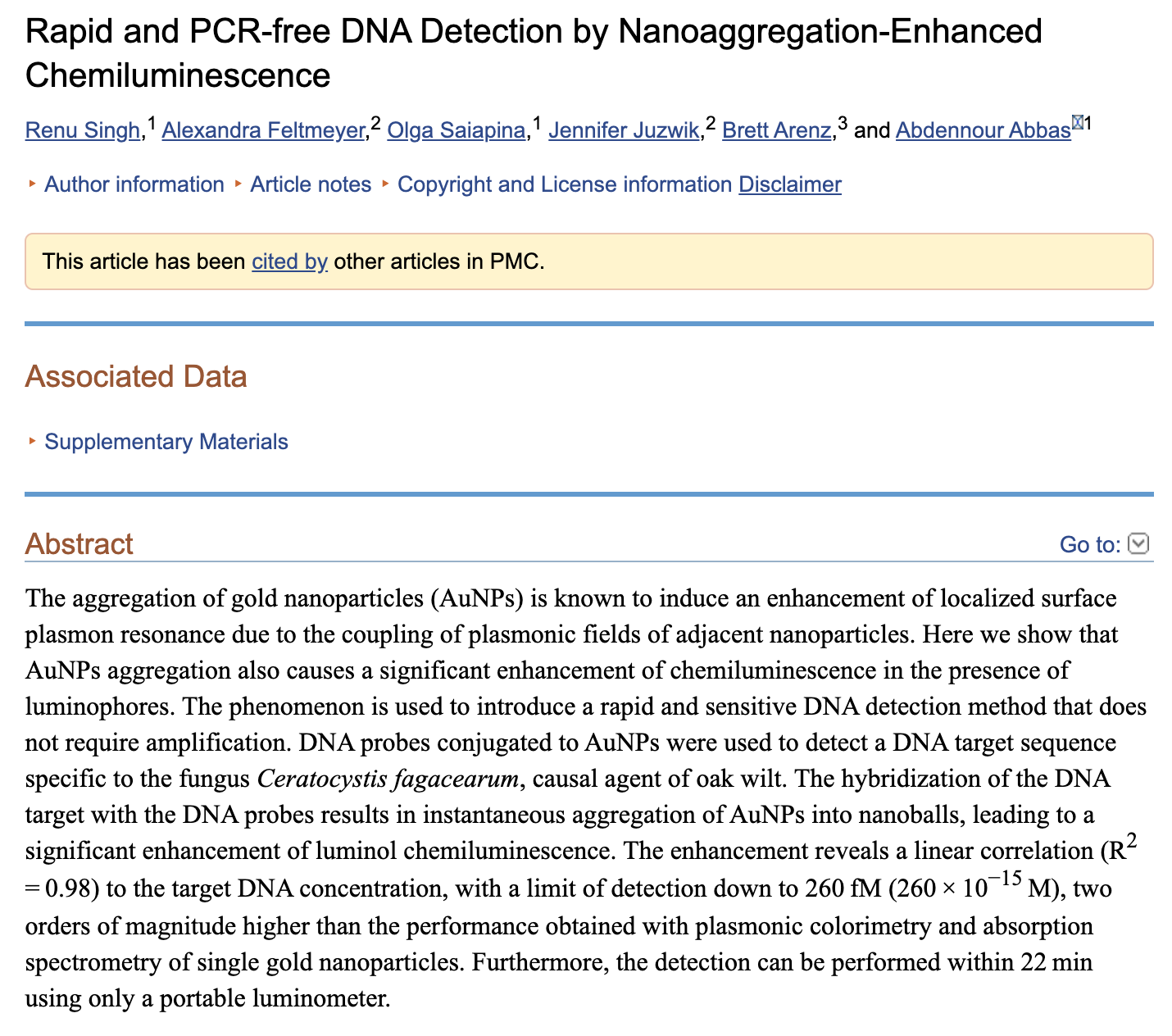 Rapid and PCR DNA Detection Abstract